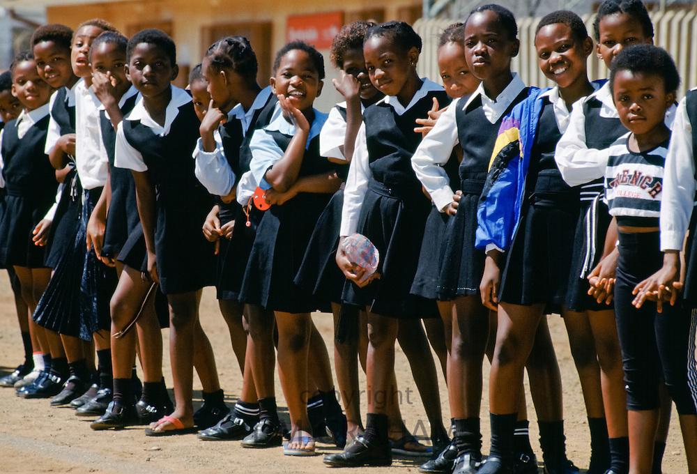 Schoolchildren in smart school uniforms at the Alexandra Township, Johannesburg, South Africa