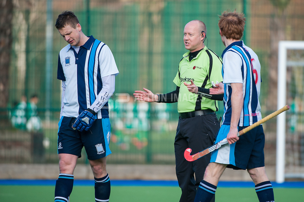 The temperature was rising during the second half as Hampstead & Westminster were frustrated. Hampstead & Westminster v Beeston - Now: Pensions Hockey League Premier Division, Paddington Rec, London, UK on 15 February 2015. Photo: Simon Parker