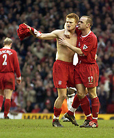 Photo. Jed Wee<br />Liverpool v Middlesbrough, FA Barclaycard Premiership, Anfield, Liverpool. 08/02/2003.<br />Liverpool's Danny Murphy (R) embraces goalscorer John Arne Riise.
