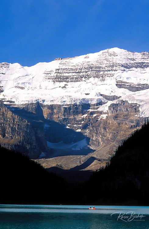Canoes on Lake Louise under Mount Victoria, Canadian Rockies, Banff National Park, Alberta, Canada