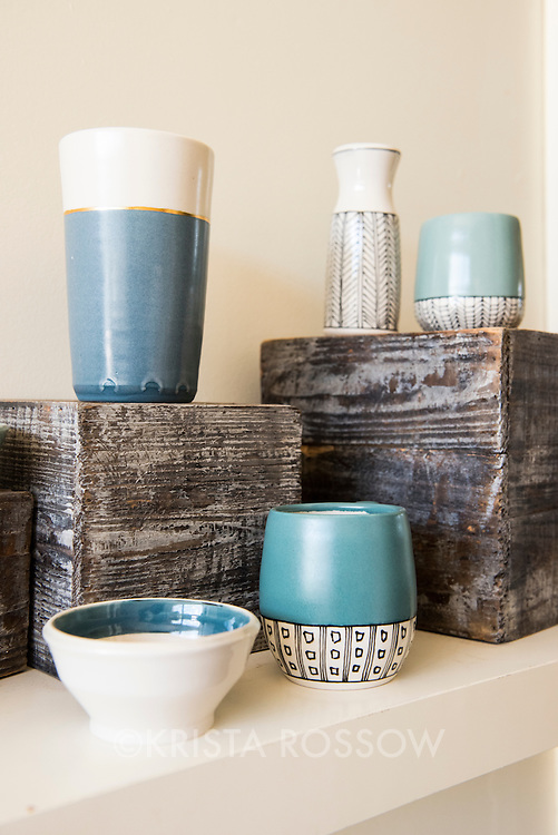 Final porcelain pieces by Laura Cooke of Cooke Ceramics on display at Clayspace. The Clayspace Co-op is a cooperative of professional ceramic artists located at the Wedge Studios at 119 Roberts Street in the River Arts District of Asheville, North Carolina.