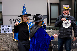 © Licensed to London News Pictures. 28/10/2020. LONDON, UK.  Anti-Brexit protesters from SODEM stage a Halloween-themed demonstration outside the Department for Business, Energy & Industrial Strategy in Westminster.  Michel Barnier, the European Commission's Head of Task Force for Relations with the United Kingdom, is attending meetings inside.  Photo credit: Stephen Chung/LNP