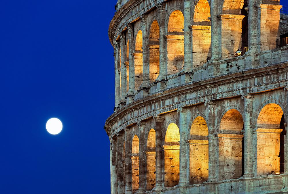 Roman Coliseum detail at night, Rome, Italy.
