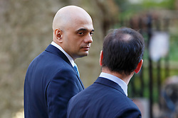 © Licensed to London News Pictures. 05/04/2016. London, UK. Business Secretary SAJID JAVID and Welsh Secretary ALUN CAIRNS attending a meeting to discuss potential buyers of Tata Steel plants with Prime Minister David Cameron in Downing Street on Tuesday, 5 April 2016. Photo credit: Tolga Akmen/LNP