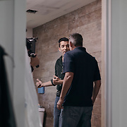 Jonathan Scott films a bathroom scene during a production day for the HGTV show, Brother vs Brother, Wednesday, February 15, 2017 in Galveston, Texas. Season five of the show which features The Property Brothers, Jonathan and Drew Scott, airs later this year.<br /> <br /> Todd Spoth for The New York Times.
