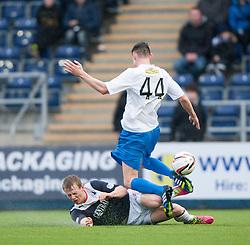 Falkirk's Stephen Kingsley and Morton's Jamie McCormack.<br /> Falkirk 1 v 1 Morton, Scottish Championship game today at The Falkirk Stadium.<br /> © Michael Schofield.