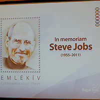 Memorial stamp issued by Hungarian Postal Service is seen during the premiere of the Steve Jobs biography written by Walter Isaacson published in Hungarian translation in Budapest, Hungary on November 28, 2011. ATTILA VOLGYI