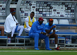 August 1, 2017 - Chelmsford, England, United Kingdom - West Indies player feeling the cold.during the Domestic First Class Multi - Day  match between Essex  and West Indies  at the Cloudfm County Ground on August 01, 2017 in Chelmsford, England. (Credit Image: © Kieran Galvin/NurPhoto via ZUMA Press)