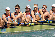 Munich, GERMANY,     Friday Heats GBR M8+. at the start, GBR  M8+. right to left. - Alex PARTRIDGE, Marcus BATEMAN, Mo SBIHI, Tom RANSLEY, Rick EGINGTON, Matt LANGRIDGE, 2012 World Cup III on the Munich Olympic Rowing Course,  Friday   15/06/2012. [Mandatory Credit Peter Spurrier/ Intersport Images]..