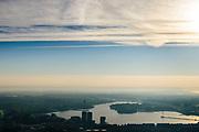 Nederland, Flevoland, Almere Stad, 04-11-2018; centrum Almere, contouren van de hoogbouw in tegenlicht met Weerwater in de achtergrond.<br /> Contours of the high-rise buildings Almere in backlight.<br /> <br /> luchtfoto (toeslag op standaard tarieven);<br /> aerial photo (additional fee required);<br /> copyright © foto/photo Siebe Swart