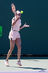March 23, 2018 - Key Biscayne, FL, U.S. - KEY BISCAYNE, FL - MARCH 23: Donna Vekic (CRO) in action on Day 5 of the Miami Open Presented at Crandon Park Tennis Center on March 23, 2018, in Key Biscayne, FL. (Photo by Aaron Gilbert/Icon Sportswire) (Credit Image: © Aaron Gilbert/Icon SMI via ZUMA Press)