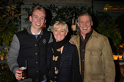 Jo Malone with her husband Gary Wilcox and son Josh at The Ivy Chelsea Garden's Guy Fawkes Party, 197 King's Road, London, England. 05 November 2017.