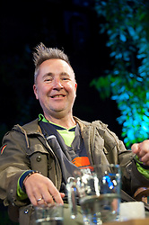 © London News Pictures. 31/05/2015. Hay-on-Wye, Powys, Wales, UK. On the last day of the Hay Festival, Nigel Kennedy is in conversation with Clemency Burton-Hill - In an informal pre-concert interview, the violinist talks about his approach to music, his Polish band, his 1732 violin made by Carlo Bergonzi of Cremona, jazz, Villa and Vivaldi. Photo credit : Graham M. Lawrence/LNP.