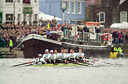 Putney. London.  2004 University Boat Race,  Championships Course, Putney to Mortlake. <br /> <br /> <br /> <br /> CUBC. Bow. C le Neve Foster, K Coventry,   H Mallinson, S Mayer, A Shannon, S Buschbacher,  *W Pommen, N Kirk, and  Cox K Richardson, <br /> <br /> OUBC. Bow. C Kennelly,  B G Dixon,  A Stubbs, ; J Scrogin, P Reed, ; D Livingston, 1 H Morris,  C Smith,  A Nethercott, <br /> <br /> [Mandatory Credit Peter SPURRIER]