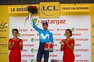 Podium, Miss, Hotess, Alejandro Valverde (ESP - Movistar) during the 105th Tour de France 2018, Stage 11, Alberville - La Rosiere Espace Bernardo (108,5 km) on July 18th, 2018 - Photo Luca Bettini / BettiniPhoto / ProSportsImages / DPPI