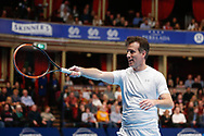 Strictly Come Dancing star Anton du Beke points to the crowd during a celebrity doubles match at the Men's Singles Final Champions Tennis match at the Royal Albert Hall, London, United Kingdom on 9 December 2018. Picture by Ian Stephen.