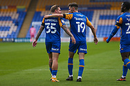 GOAL 2-0. Ryan Barnett of Shrewsbury Town scores and celebrates the second goal of the game during the EFL Trophy match between Shrewsbury Town and U21 Newcastle United at Greenhous Meadow, Shrewsbury, England on 22 September 2020.