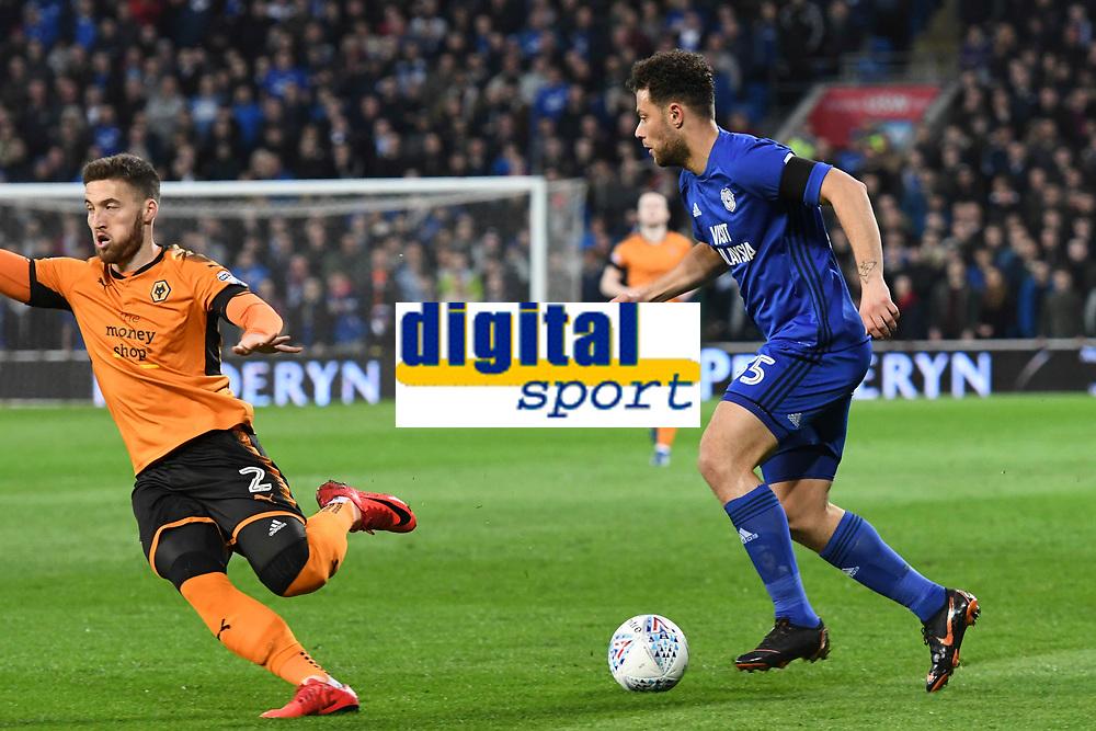 Football - 2017 / 2018 Sky Bet Championship - Cardiff City vs. Wolverhampton Wanderers<br /> <br /> Yanic Wildschut  of Cardiff City attacks Matt Doherty ofWolverhampton Wanderers, at Cardiff City Stadium.<br /> <br /> COLORSPORT/WINSTON BYNORTH