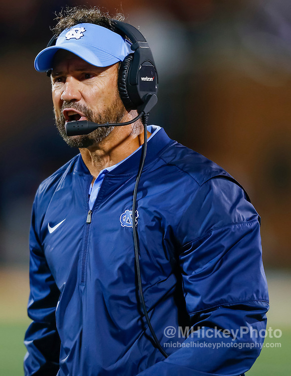 CHAMPAIGN, IL - SEPTEMBER 10: Head coach Larry Fedora of the North Carolina Tar Heels is seen during the game against the Illinois Fighting Illini at Memorial Stadium on September 10, 2016 in Champaign, Illinois. (Photo by Michael Hickey/Getty Images) *** Local Caption *** Larry Fedora
