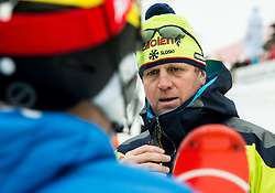"""Stefan Hadalin (SLO) and Klemen Bergant, coach of Slovenia after the 1st Run of FIS Alpine Ski World Cup 2017/18 Men's Slalom race named """"Snow Queen Trophy 2018"""", on January 4, 2018 in Course Crveni Spust at Sljeme hill, Zagreb, Croatia. Photo by Vid Ponikvar / Sportida"""