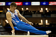 Max Whitlock of Great Britain (GBR) on the Pommel Horse during the iPro Sport World Cup of Gymnastics 2017 at the O2 Arena, London, United Kingdom on 8 April 2017. Photo by Martin Cole.