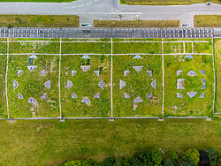 Aerial view from drone of grassed roof of new Macallan  scotch whisky distillery visitor centre on Speyside at Craigellachie, Moray, Scotland, UK
