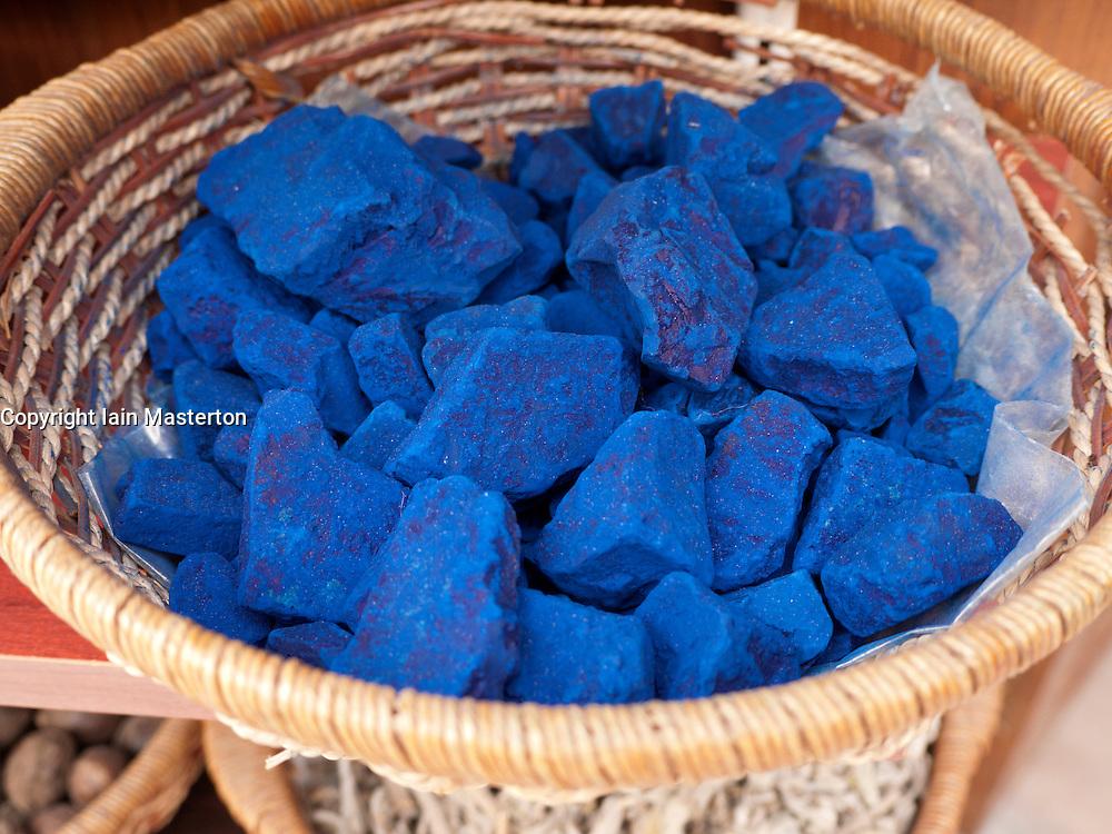 Indigo for sale in spice shop in Bastakia Bur Dubai United Arab Emirates UAE