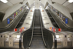 © Licensed to London News Pictures. 17/03/2020. London, UK. Empty escalators at Kings Cross underground station. London Transport will reduce weekday services during the coronavirus crisis to a weekend level of service. Photo credit: Dinendra Haria/LNP