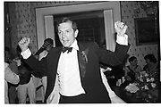 NIGEL DEMPSTER, party given by Mrs. H. Mazandi, Chester Sq. London. 1984<br /> SUPPLIED FOR ONE-TIME USE ONLY> DO NOT ARCHIVE. © Copyright Photograph by Dafydd Jones 248 Clapham Rd.  London SW90PZ Tel 020 7820 0771 www.dafjones.com