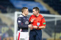 Falkirk's John Baird and ref Andrew Dallas. <br /> Falkirk 1 v 0 Cowdenbeath, Scottish Championship game played 31/3/2015 at The Falkirk Stadium.
