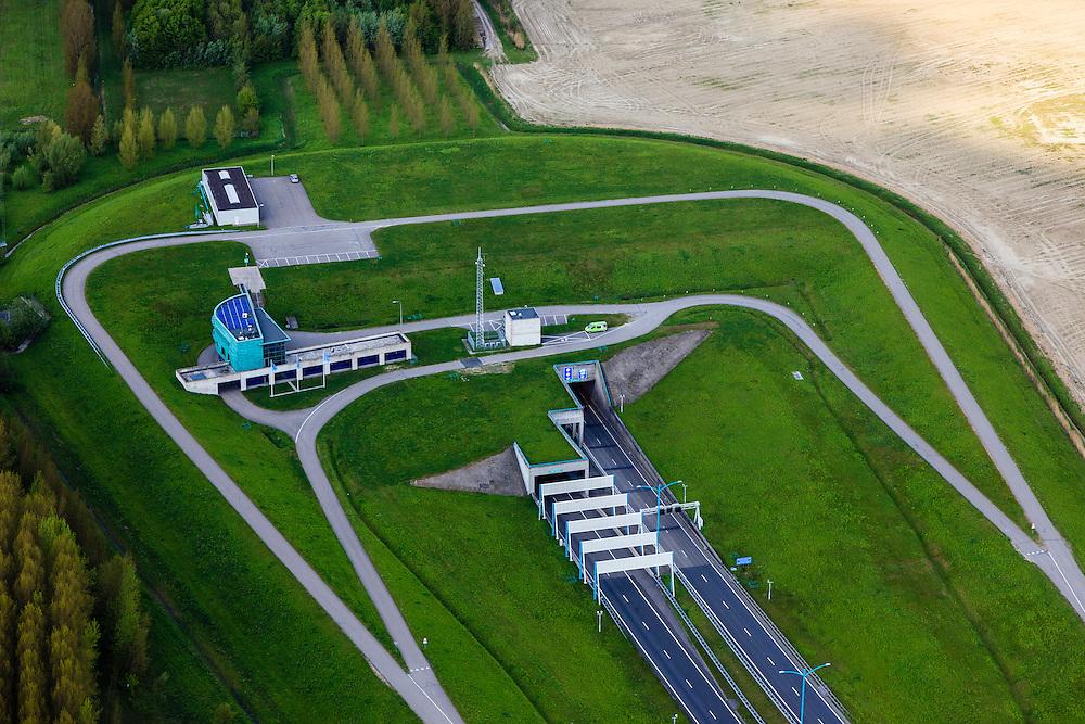 Nederland, Zeeland, Terneuzen, 09-05-2013; Zeeuws-Vlaanderen, Terneuzen, zuidelijk ingang van de Westerscheldetunnel. Tunnel entrance of the tunnel in the Westerschelde, connecting Zeeuws-Vlaanderen and Zuid-Beveland in the province of Zeeland. <br /> luchtfoto (toeslag op standard tarieven);<br /> aerial photo (additional fee required);<br /> copyright foto/photo Siebe Swart.