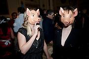 HELEN MCMAHON; ANNA MIKAILOVA, Philip Sallon's mass paranoia swine flu birthday party. Home House. Portman Sq. London. 13 November 2009.