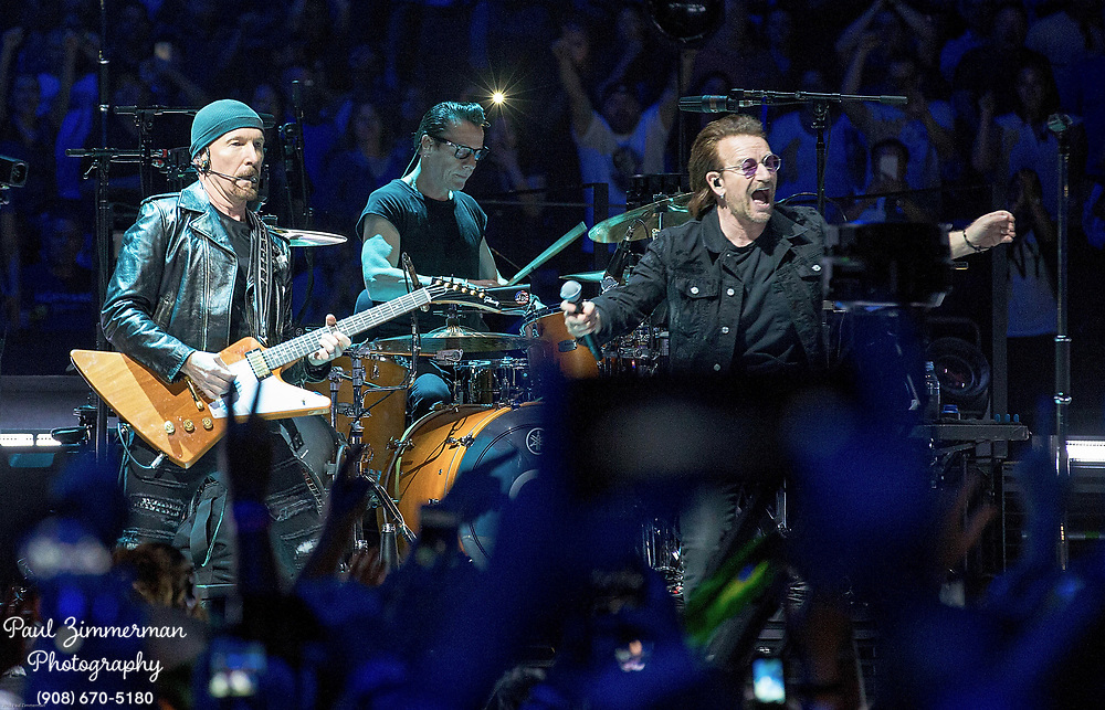 NEWARK, NJ - JUNE 29:  (L to R) The Edge, Larry Mullen, Jr., Bono, and Adam Clayton of U2 perform onstage during the eXPERIENCE + iNNOCENCE TOUR at Prudential Center on June 29, 2018 in Newark, New Jersey.  (Photo by Paul Zimmerman/Getty Images) *** Local Caption *** The Edge; Larry Mullen Jr.; Bono; Adam Clayton