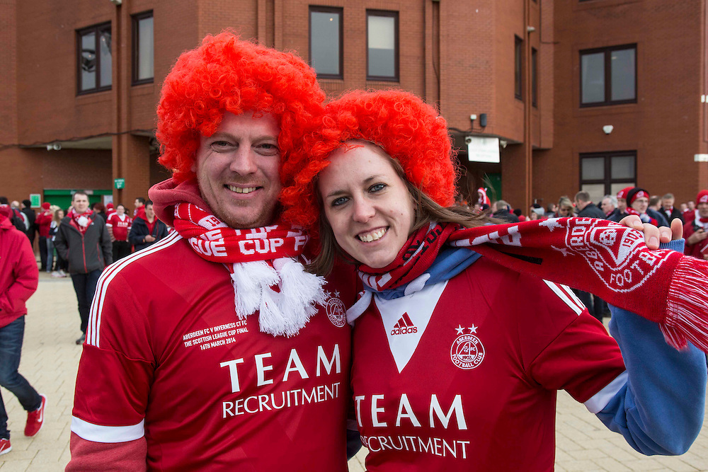 Scottish League Cup Final Aberdeen V Inverness CT at Parkhead on Sunday, 16th of March 2014, Aberdeen Scotland.<br /> Pictured: Chris Proctor and Dawn Stark, <br /> (Photo Ross Johnston/Newsline Scotland)