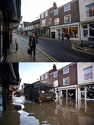 © Licensed to London News Pictures. 27/12/2016. York, UK. Side by side comparison pictures showing Walmgate in the centre of York as it is today, December 27, 2016 (TOP), and exactly a year ago today, on December 27, 2015 (BOTTOM) during the middle of severe flooding. Homes and businesses were destroyed in the flooding over the Christmas period last year. Photo credit: Ben Cawthra/LNP