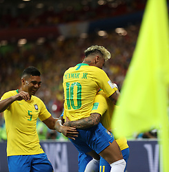 ROSTOV-ON-DON, June 17, 2018  Players of Brazil celebrate scoring during a group E match between Brazil and Switzerland at the 2018 FIFA World Cup in Rostov-on-Don, Russia, June 17, 2018. (Credit Image: © Lu Jinbo/Xinhua via ZUMA Wire)