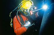 Alaska, Valdez. Underwater welding at Prince William Sound's Valdez tanker termainal. Arc. MR.