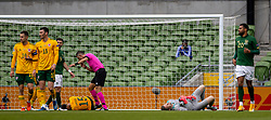 DUBLIN, REPUBLIC OF IRELAND - Sunday, October 11, 2020: Wales' goalkeeper Wayne Hennessey crashes into team-mate Ethan Ampadu during the UEFA Nations League Group Stage League B Group 4 match between Republic of Ireland and Wales at the Aviva Stadium. The game ended in a 0-0 draw. (Pic by David Rawcliffe/Propaganda)