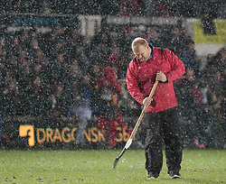 Ground staff work on the pitch during half time<br /> <br /> Photographer Simon King/Replay Images<br /> <br /> Guinness Pro14 Round 12 - Dragons v Cardiff Blues - Sunday 31st December 2017 - Rodney Parade - Newport<br /> <br /> World Copyright © 2017 Replay Images. All rights reserved. info@replayimages.co.uk - http://replayimages.co.uk