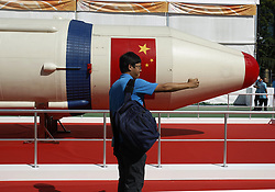 June 28, 2017 - Hong Kong, CHINA - Fuselage of Chinese rocket LONG MARCH No.1 which shot first Chinese satellite into orbit in 1970 is currently on display in Victoria Park Hong Kong to celebrate 20th anniversary of Hong Kongs HANDOVER to China. June 28, 2017.Hong Kong. ZUMA/Liau Chung Ren (Credit Image: © Liau Chung Ren via ZUMA Wire)