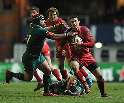 Scarlets replacement, Steven Shingler is challenged by Leicester Tigers replacement, Marcos Ayerza - Photo mandatory by-line: Dougie Allward/JMP - Mobile: 07966 386802 - 16/01/2015 - SPORT - Rugby - Leicester - Welford Road - Leicester Tigers v Scarlets - European Rugby Champions Cup