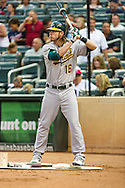Oakland Athletics right fielder Josh Reddick prepares to bat during a game against the Minnesota Twins on July 13, 2012 at Target Field in Minneapolis, Minnesota.  The Athletics defeated the Twins 6 to 3.  © 2012 Ben Krause