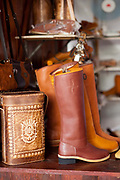 Detail shot of a pair of traditional Gaucho leather boots, Reponte da Cancao music festival and song competition in Sao Lorenzo do Sul, RIo Grande do Sul, Brazil.