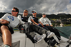 Ian Williams and his Team GAC Pindar crew of Bill Hardesty, Gerry Mitchell and Matt Cassidy in action at the St. Moritz Match Race. Photo: Chris Davies/WMRT