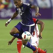 ORLANDO, FL - JUNE 18:  Cyle Larin #9 of Orlando City SC runs with the ball during an MLS soccer match between the San Jose Earthquakes and the Orlando City SC at Camping World Stadium on June 18, 2016 in Orlando, Florida. (Photo by Alex Menendez/Getty Images) *** Local Caption *** Cyle Larin