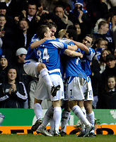 Photo: Glyn Thomas.<br />Birmingham City v Torquay United. The FA Cup. 17/01/2006.<br />Birmingham Mikael Forssell is mobbed by teammates after scoring his side's second goal.