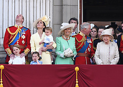 The Duke of Cambridge, Prince George, Prince Louis, Princess Charlotte The Duchess of Cambridge, The Duchess of Cornwall, Prince Charles and The Queen attending Trooping The Colour, Buckingham Palace, London. Picture credit should read: Doug Peters/EMPICS
