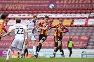 Scunthorpe United Kevin van Veen (10) heads the ball, misses the target during the EFL Sky Bet League 2 match between Bradford City and Scunthorpe United at the Utilita Energy Stadium, Bradford, England on 1 May 2021.