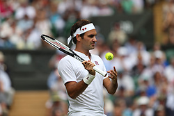 LONDON, ENGLAND - JULY 04: Roger Federer attend day three of the Wimbledon Tennis Championships at the All England Lawn Tennis and Croquet Club on July 4, 2018 in London, England..People:  Roger Federer (Credit Image: © SMG via ZUMA Wire)
