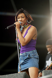 Beverley Knight, at the main stage, T in the Park Sunday Sunday 14 July 2002..Pic: © Michael Schofield..